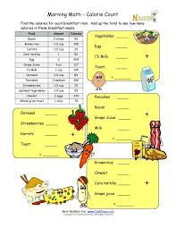 calorie count math worksheet for elementary children