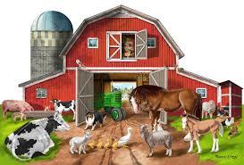 amazon com melissa u0026 doug busy barn shaped jumbo jigsaw floor