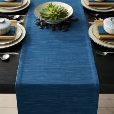 Navy Blue Table Runner Table Runners Linen Cotton And Polyester Crate And Barrel