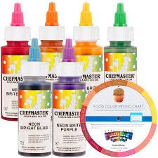 6 neon liqua gel cake color kit 2 oz