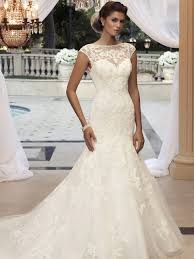 cap sleeve wedding dress cap sleeve fit and flare casablanca bridal gown 2110