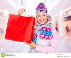 new year shopping happy woman with gifts after shopping to the new year stock image