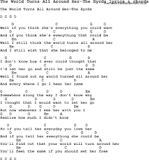 song lyrics for the world turns all around the byrds with