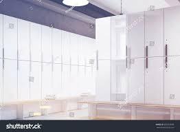 corner locker room gray walls row stock illustration 590257898 corner of a locker room with gray walls a row of wooden storage lockers near