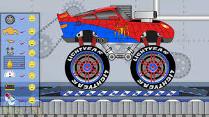 kids monster truck videos spiderman monster truck toys factory video for kids youtube