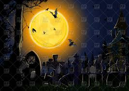 gloomy halloween card showing the full moon in the form of pumpkin