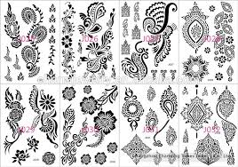newest design body art white black henna tattoo sticker for hands