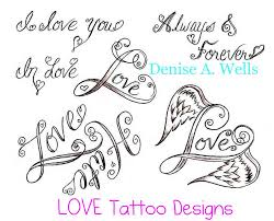 love word and heart tattoo design