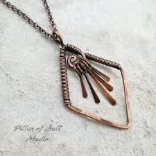 copper jewelry necklace images Diamond shape fringe copper wire wrapped necklace pillar of salt jpg