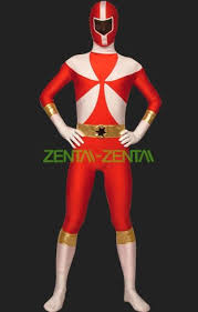 power ranger lightspeed rescue red and white lycra zentai suit