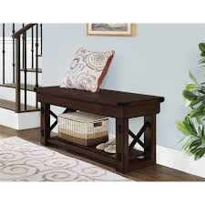 Dark Oak Furniture Better Homes And Gardens Preston Park Entryway Bench Mahogany