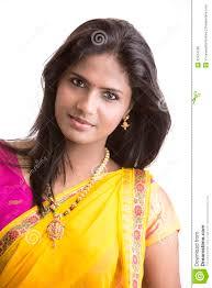 beautiful indian in traditional indian half sari royalty free