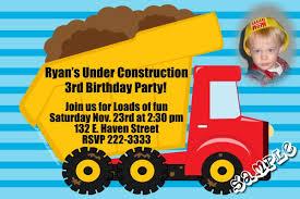construction dumptruck birthday invitations
