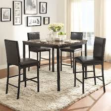 Piece Devoe Faux Marble Counter Height Dining Set Black - Countertop dining room sets
