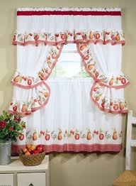 Kitchen Cafe Curtains Ideas Vintage Grey Kitchen Cafe Curtains With Valance Attached On White