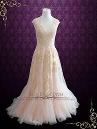 pink lace wedding dress blush pink boho lace wedding dress with plunging neckline