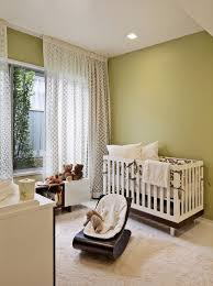 low ceiling attic nursery midcentury with green walls modern baby