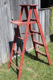wooden 5 u0027 vintage rusty red step ladder for home decor
