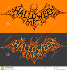 halloween party invitation background halloween party text on flying bat silhouette stock vector