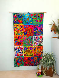 hand embroidered mexican wall hanging mexican folk art at its