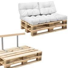 canapé en palette avec dossier canapé de palettes 2 siège avec coussins blanc kit complète