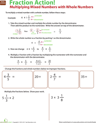 multiply mixed numbers with whole numbers worksheet education com