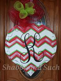 chevron ornament door hanger handpainted by shabbyandsuchdesigns