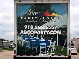 party rentals ta abco party rentals tulsa box truck graphics precision sign design