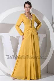 Long Draped Dress Gorgeous Yellow Long Sleeve Prom Dress Formal Evening Dresses
