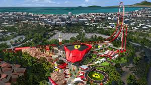 ferrari factory building an economy sized ferrari land theme park gets set to roar to life