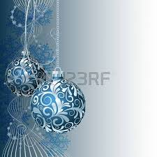 blue christmas card with christmas balls and snowflakes royalty