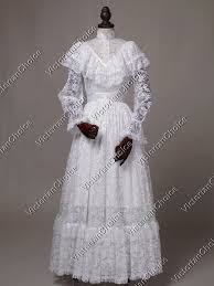 Halloween Costume Wedding Dress Edwardian Vintage White Wedding Dress Gown Ghost Bride Halloween