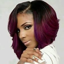 layered long bob hairstyles for black women african american layered purple bob haircut