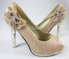wedding shoes gold color women s gold color waterproof diamond bow dazzling peep toe high
