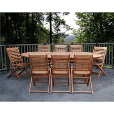 Eucalyptus Outdoor Table by Amazonia Milano Grand 9 Piece Extendable Fsc Eucalyptus Wood Patio