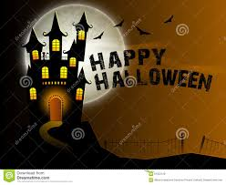 scary haunted house for halloween party celebration stock