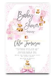teddy baby shower invitations baby shower invitation pink teddy gift boxes