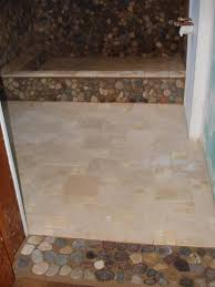 tumbled marble and river stone bathroom floor and shower new