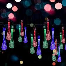 solar led water drop string lights 20ft long 30 led bulbs for