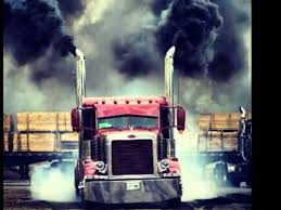 yellow diesel truck smoke out wallskid