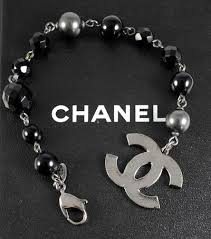 pearl bracelet with silver charm images Signature chanel crystal pearl beaded silver cc charm bracelet jpg
