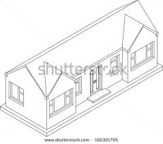 3d isometric line drawing double fronted stock illustration