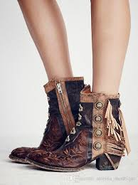 womens boots mid calf brown tassel vintage boots nubuckle leather low heels andrew