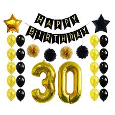 Happy Birthday Flags 30th Birthday Party Decor Banner Golden Black Star Number Balloon