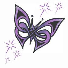 purple and black tribal butterfly design
