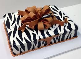 zebra stripe gift box cake with university of texas longhorn