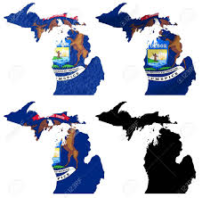 Michigans State Flag Us Michigan State Flag Over Map Collage Stock Photo Picture And