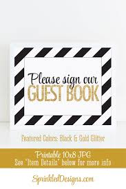bridal shower sign in book guest book sign black gold glitter baby bridal shower