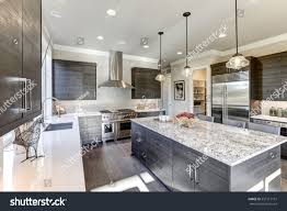 modern grey kitchen cabinets modern gray kitchen features dark gray stock photo 557517151