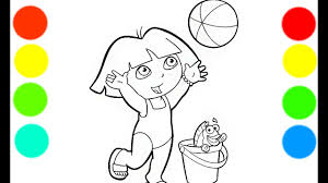 dora baby red fish coloring book pages videos kids